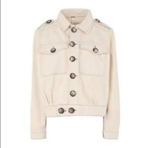 Free people slouchy Eisenhower denim jacket ivory